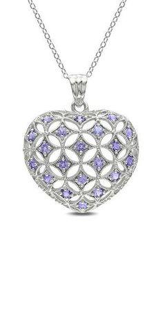 Tanzanite & Sterling Silver Pattern Pendant Necklace