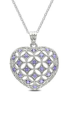 Tanzanite & Sterling Silver Pattern Pendant Necklace