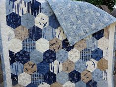 Hearty Good Wishes Nautical Baby Hexagon Toddler Baby Patchwork Quilt by TheAdolineHouse, $75.00