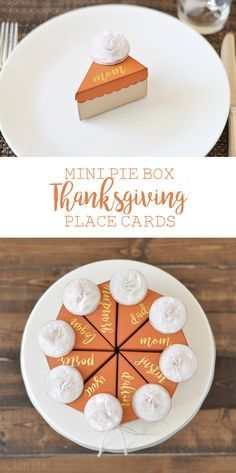 Who wouldn't love to have a Mini Pie Box with their name on it?! These are the perfect place cards to use for Thanksgiving. The details are on the blog.