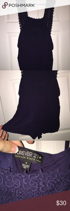 Forever 21+ Navy Romper Only wore once!! Super cute and very flattering navy romper from Forever 21!! Beautiful lace detail and the back zips up! Forever 21 Other