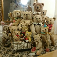 Family photo of our lovely Hermann teddy bears. One other snug in, can you tell? All bears + many more for adoption at ShabbyGoesLucky's!