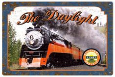 Southern Pacific Daylight Railroad Map Sign, Aged Style Aluminum Metal Sign, USA Made Vintage Style Retro Garage Art by HomeDecorGarageArt on Etsy Garage Art, Train Drawing, Union Pacific Railroad, Aluminum Metal, Railroad Photography, Metal Barn, Old Trains, Vintage Metal Signs, Model Trains