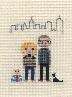 Custom Family Pixel Cross Stitch Portrait (Unframed). $32.00, via Etsy.