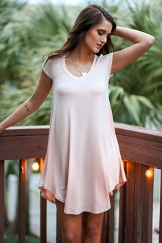 The Last Song Peach Casual V-Neck T-Shirt Dress - Amazing Lace