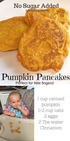 No sugar added pumpkin pancakes. Perfect for your baby, toddler or BLW. No sugar added pumpkin pancakes. Perfect for your baby, toddler or BLW. Baby First Foods, Baby Finger Foods, Baby Led Weaning First Foods, Fingerfood Baby, Healthy Baby Food, Healthy Toddler Snacks, Toddler Lunches, Pumpkin Pancakes, Baby Pancakes