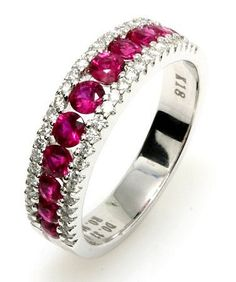 Speed Dating - Best Diamond Wedding Ring 2017 / white gold ruby diamond anniversary band. The ring holds 11 rubies with tot Deco Engagement Ring, Rose Gold Engagement Ring, Vintage Engagement Rings, Ruby Wedding Rings, Wedding Ring Bands, Diamond Anniversary Bands, Anniversary Rings, Bridal Jewelry Sets, Bridal Rings