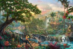 The Jungle Book by Thomas Kinkade is a signed numbered limited edition on canvas published from a Thomas Kinkade painting. Texas Art Depot is the Authorized Thomas Kinkade Dealer, Gallery in East Texas and Palestine, Texas Thomas Kinkade Disney, Thomas Kinkade Art, Thomas Kinkade Puzzles, Disney Pixar, Disney Animation, The Jungle Book, Comics Und Cartoons, Kinkade Paintings, Thomas Kincaid