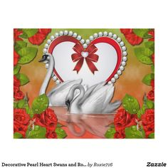 Decorative Pearl Heart Swans and Roses Wall Panel