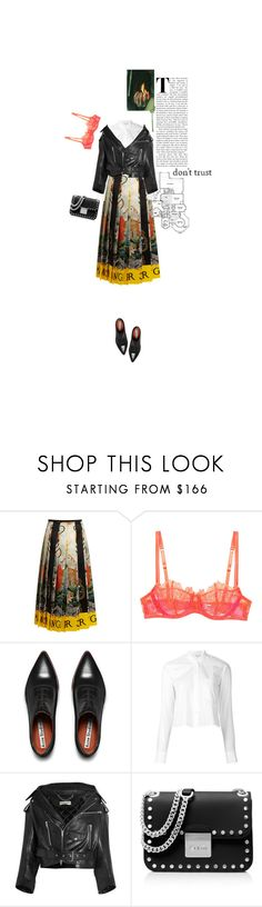 """""""56/what ever happened to the young man's heart?"""" by theotherjoanne ❤ liked on Polyvore featuring Gucci, Acne Studios, Helmut Lang, Balenciaga, MICHAEL Michael Kors, Oxfords, leatherjacket, midiskirt and bralette"""