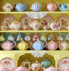 Oh my, what, so many tea sets. If I could have all of this in some jewel tones and metallic colors, more cast iron looking than porcelain, I'd be in LOVE.