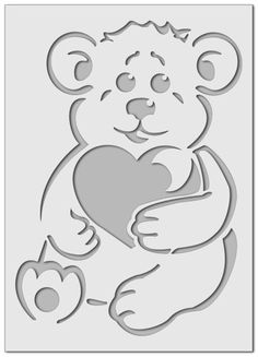 Teddy bear with heart stencil Heart Stencil, Stencil Painting, Fabric Painting, Stencil Templates, Stencil Patterns, Stencil Designs, Arte Bob Marley, Paper Art, Paper Crafts