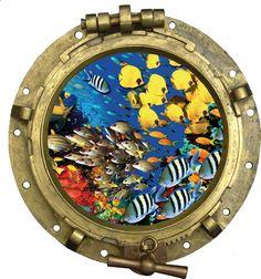 Sticker Trompe l oeil Hublot Aquarium 2