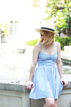 Poor Little It Girl - Chicwish Stripe Tie-Back Dress, J. Crew Panama Hat and  Keds for Kate Spade Lemon Sneakers