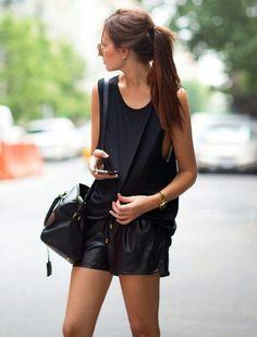 100% Tencel Black Tank with black shorts Shop similar style on siizu.com