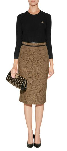 Laden in floral lace, this earthy-hued pencil skirt form Burberry London is both contemporary and chic #Stylebop