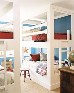 red white blue kids bunkbed bedroom