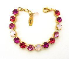 SUGAR BABY Swarovski crystal pink on yellow gold by SiggyJewelry