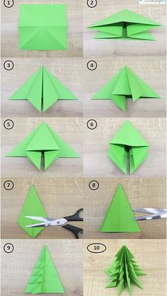 LEARN TO DRAW - DIY paper ideas with tutorials for decorations made only from paper. - DIY paper make DIY origami Christmas decorations together! Origami Simple, Kids Origami Easy, Origami Christmas Tree, Xmas Trees, Origami Ornaments, Paper Ornaments, Oragami Christmas Ornaments, Christmas Garlands, Advent Wreaths