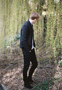 cotton and linen jacket- mao collar denim shirt linen trousers- work boot  ZARA - #ZARAPICTURES by Nathan Williams - EDIT2