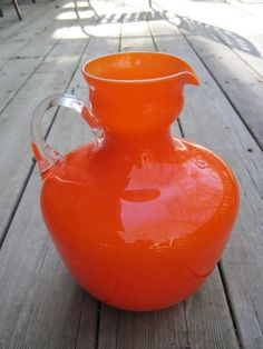 Beautiful Orange Blown Glass Pitcher