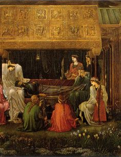 Edward Burne-Jones, The Last Sleep of Arthur in Avalon, started in 1881. The massive painting measures 279 cm x 650 cm. (Detail)