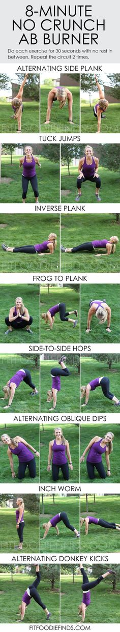 Workout Roundup: Abs and Core like this 8 minute ab burner from Fit Foodie Finds. #FitFluential