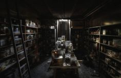 An abandoned veterinary school basement. The jars are filled with animal remains like intestines, hearts, lungs and severed dog heads submerged in formaldehyde.