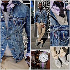 """One Hundred Percent""  Denim Jacket - @Levi Shaffer  Silk Cotton Sweater - @H&M  Oxford Shirt - @J.Crew  Knit Tie - @Cameron Fredrickson  Lapel Flower - @hook + ALBERT  Sustainable Belt - @HUCKSTRAPS  Khaki Bowery Pant - @J.Crew  Suede Sneakers - @Kenneth Cole Productions  Time Piece - @Timex  Bracelet -  @MaritimeSupplyCo"