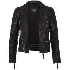 AllSaints Pitch Leather Biker Jacket ($362) ❤ liked on Polyvore featuring outerwear, jackets, coats, leather jackets, black, slim fit biker jacket, genuine leather jackets, leather moto jacket and lined jacket