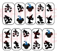 Disney Mickey Mouse Silhouette Nail Art Decal Transfer Adult Kid Peel N Apply | eBay