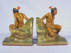 Vintage Polychrome Metal INDIAN BOOK ENDS - Circa 1920's