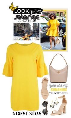 """""""In La La Land: Yellow Dresses: Solange Knowles"""" by shortyluv718 ❤ liked on Polyvore featuring Kim Rogers, BaubleBar, StreetStyle, yellowdress and solageknowles"""