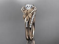 14kt  rose gold diamond leaf and vine wedding ring,engagement ring ADLR91S nature inspired jewelry...LOVE!