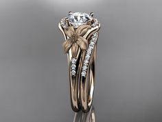 14kt rose gold diamond leaf and vine wedding by anjaysdesigns, $1995.00