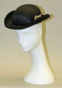 "Riding Hat: ca. 1857, British, silk/cotton.    Marking: [label] ""London Finish"""