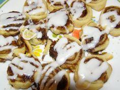 For breakfast, mini pie crust cinnamon rolls