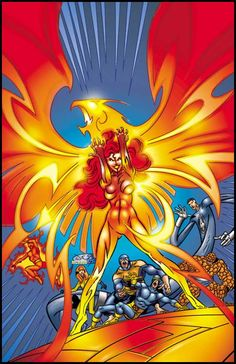 Dark Phoenix and the X-Men with the Fantastic Four by John Byrne