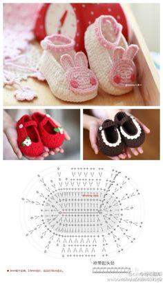 #钩针婴儿鞋图解#