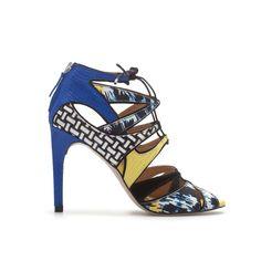 Zara Multicolored Laceup Sandal in Multicolor (two-tone)
