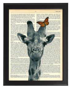 Giraffe & Butterfly Art Print Decorative Animal by TopLondonPrints, £6.00