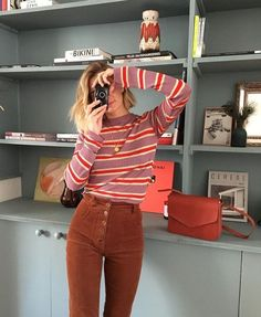 fashion Perfect Stripes Outfits from 49 of the Top Stripes Outfits collection is the most trending fashion outfit this winter. This Top Stripes Outfits look was carefully discovered by 70s Inspired Fashion, 70s Fashion, Look Fashion, Autumn Fashion, Fashion Outfits, Fashion Trends, Trending Fashion, Fashion Women, Cheap Fashion