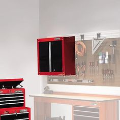 """Craftsman 28"""" Wide Wall Cabinet - Red/Black 1"""