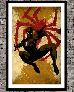 Spiderman - Original art illustration super hero retro page movie poster print - minimalist print - Comics marvel art poster. via Etsy