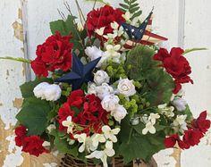 4th of July Basket, Patriotic Wreath, 4th of July Wreath, Americana Wall Basket, Spring Wreath, Summer Wreath