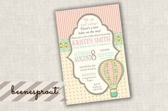 Vintage Hot Air Balloon Baby Shower Invitation by beenesprout