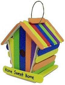 Foam Craft Stick Birdhouse. Make a birdhouse for your neighborhood birds! From MakingFriends.com