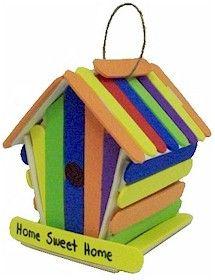 Foam Craft Stick Birdhouse. Make a birdhouse for your neighborhood birds! From MakingFriends.com