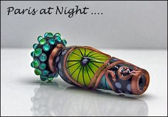*PARIS at NIGHT* Lampwork focal bead by Michou Pascale Anderson