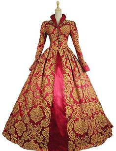 Queen Elizabeth Vintage Rococo Victorian Dress Party Costume Masquerade Ball Gown Women's Costume Red / Yellow+Blue Vintage Cosplay Lace Satin Cotton Party Prom Long Sleeve Long Length Ball Gown Plus Masquerade Ball Gowns, Ball Gowns Prom, Ball Gown Dresses, Pageant Dresses, 15 Dresses, Quinceanera Dresses, Venetian Masquerade, 18th Century Dress, 18th Century Costume